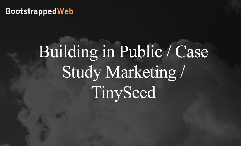 Building in Public / Case Study Marketing / TinySeed